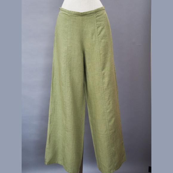 Flax Pants - Women's wide leg FLAX pants petite NWT olive